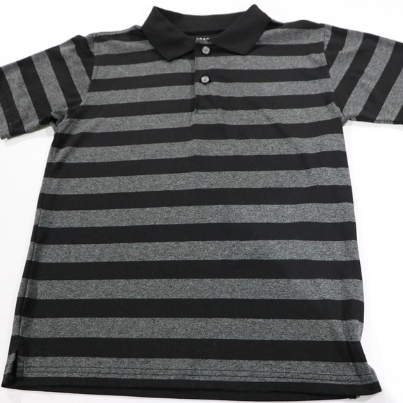 George Other - Black & Grey Stripe Polo in Boys 10/12 Polyester